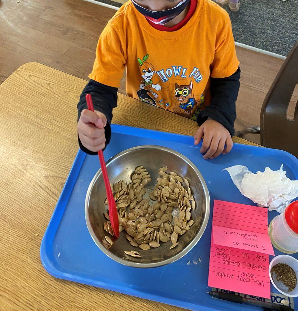 preschool of orange cooking activity